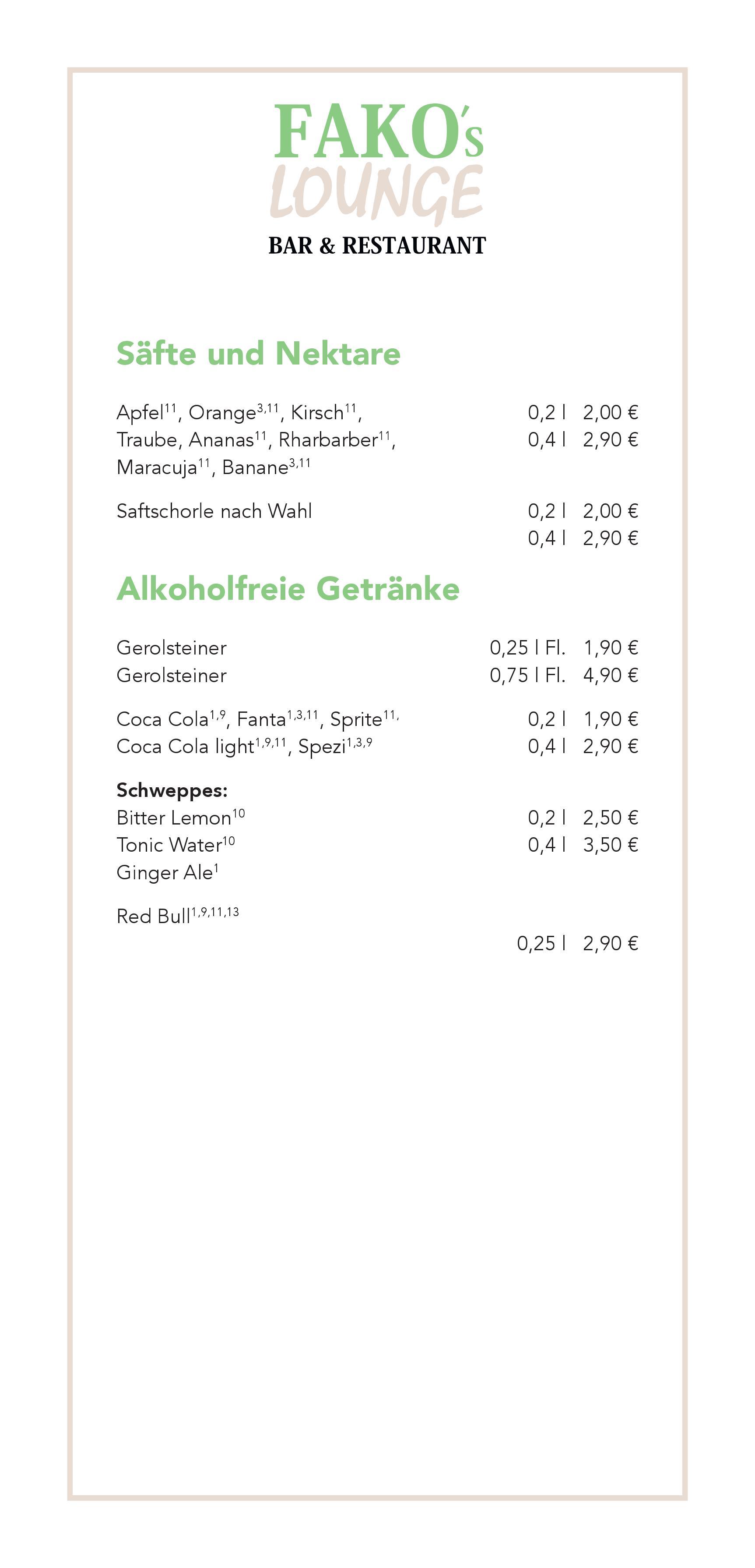 Alkoholfreie Getränke & Heiße Getränke | Fakos Lounge