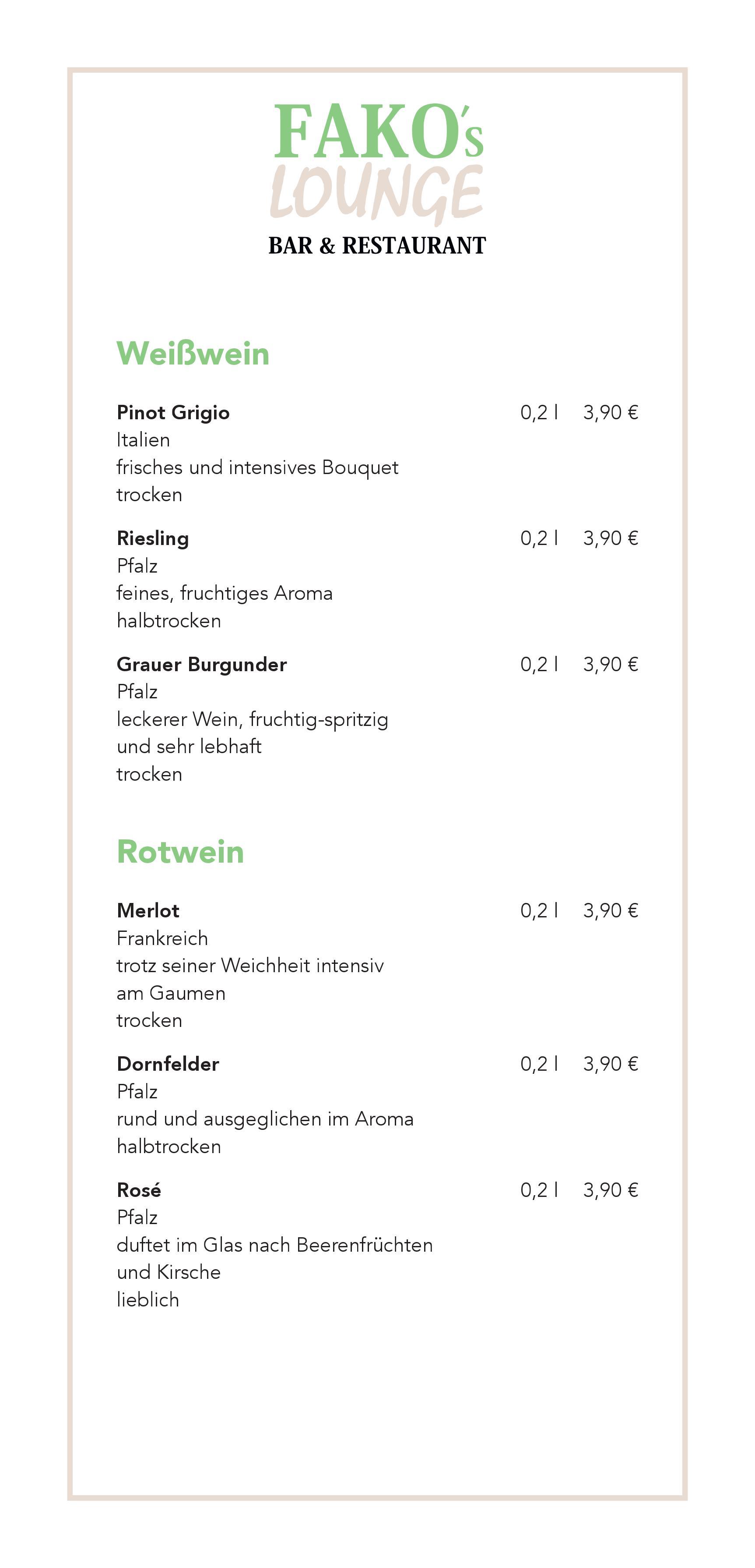Alkoholische Getränke | Fakos Lounge