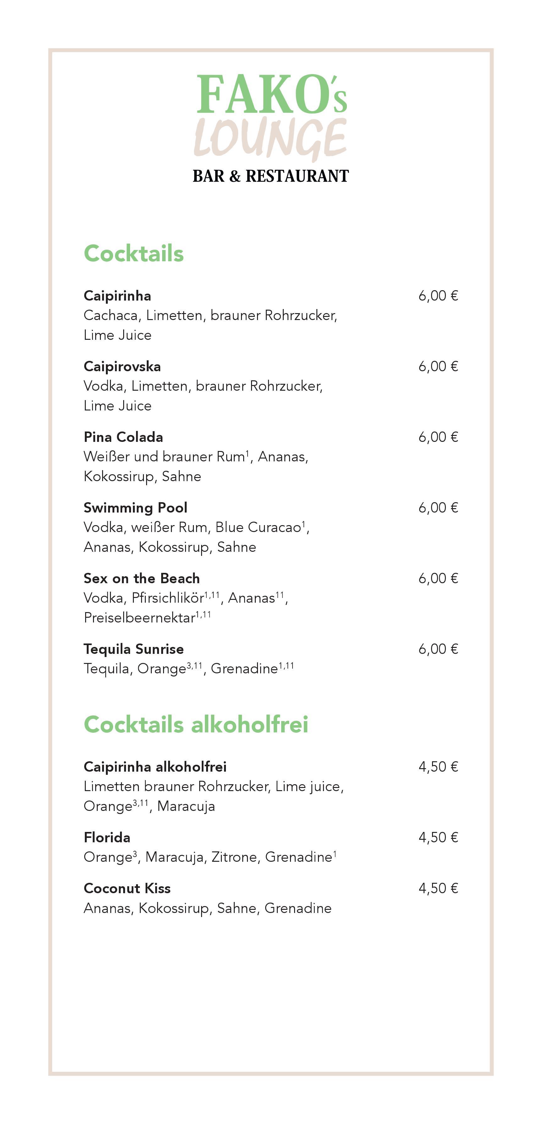 Spirituosen & Cocktails | Fakos Lounge