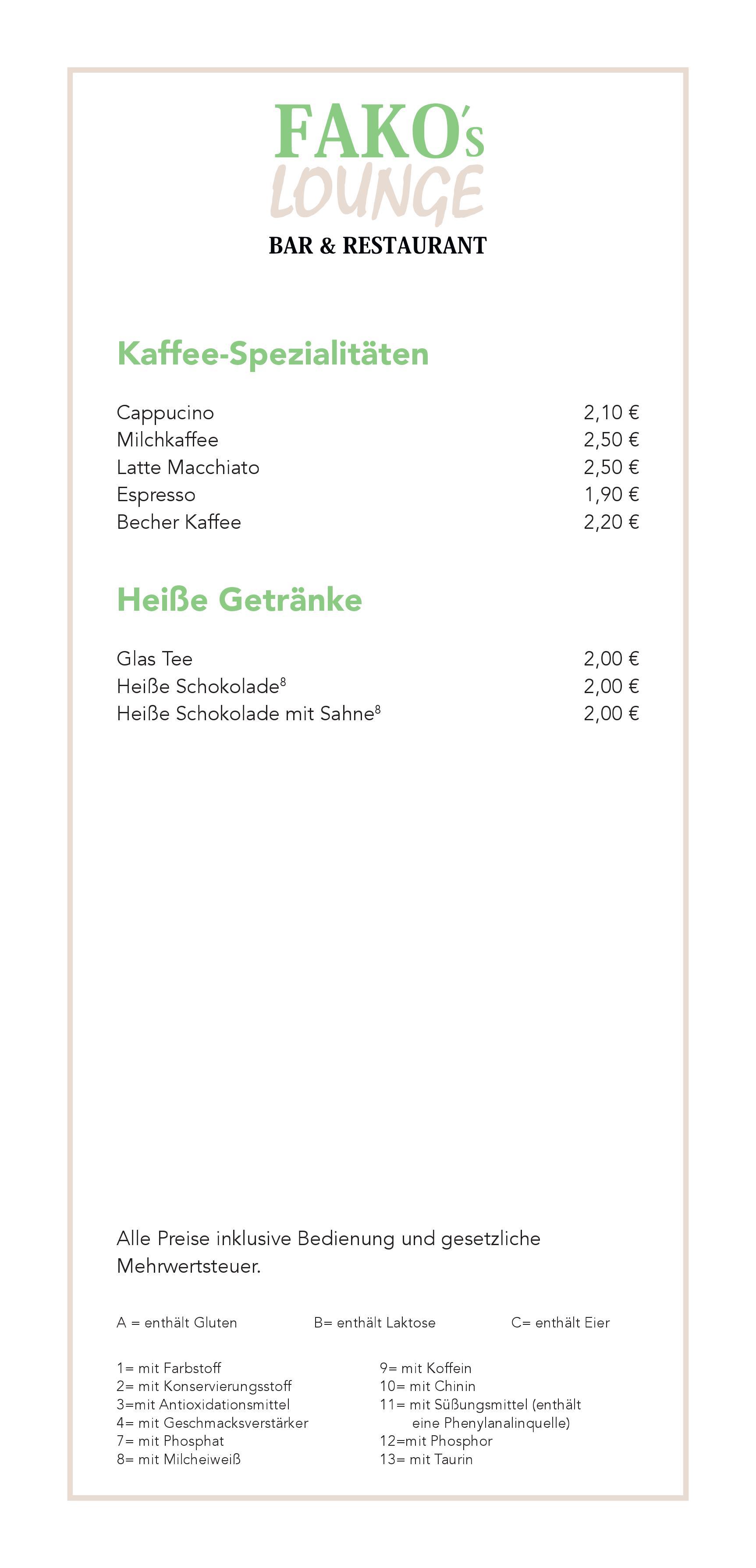 Alkoholfreie Getränke & Heiße Getränke   Fakos Lounge